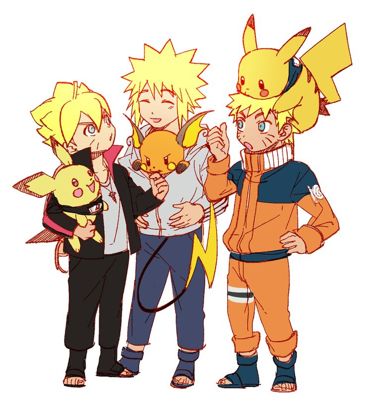 Tags: Fanart, NARUTO, Uzumaki Naruto, Pokémon, Nintendo, Pikachu, Namikaze Minato, Raichu, Pichu, Artist Request, PNG Conversion, Uzumaki Family, Evolution Family, Noeunjung93, Uzumaki Boruto