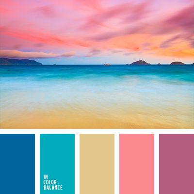 El tono arena suaviza esta combinación contrastante de colores rosa frambuesa y aguamarina, dándole un toque más sobrio y equilibrado. Tal paleta de colores es una excelente opción para salones de belleza y salas de masaje. Relaja y favorece el descanso.