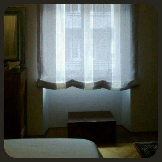 Tenda a pacchetto grigio bianco. Made artextile #artextile #interiortex #modern #grey #white #room
