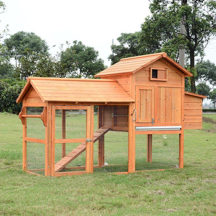 PawHut Deluxe Wood Chicken Coop Nesting Box Backyard Poultry Hen House w/Run | eBay