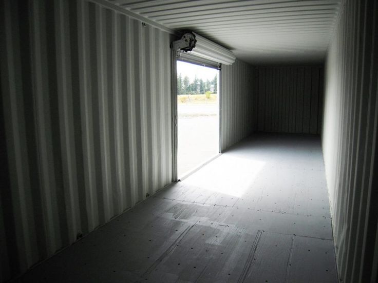 Interior of a 40' container with roll-up door