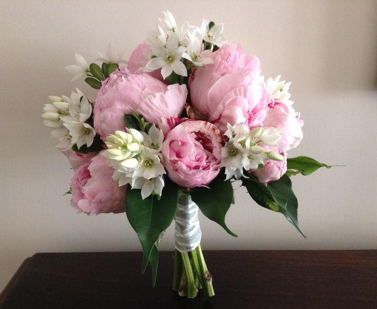 ramo de peonias rosadas y ramilletes de ornitogalum #ramo https://www.facebook.com/RamosYTocadosMariaInesMurguiondo