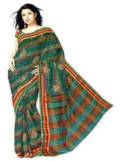 UNM4084-Trendy multi color pure narayenpet handloom cotton block printed saree