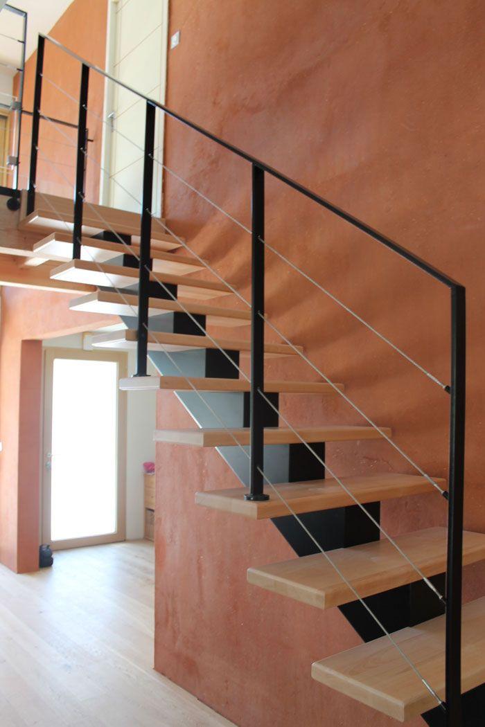île BRANNEC : escalier métallique et bois, avec des fer plat 40 x 12 mm acier laqués couleurs au choix #Escaliers #POTIER