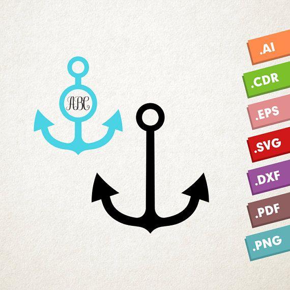 Download Anchor SVG file, Ship Anchor SVG, Anchor blue monogram ...