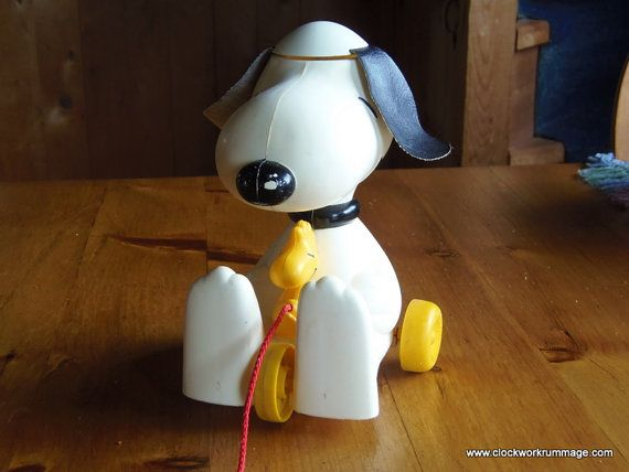Snoopy Pull Toy, Snoopy and Woodstock, Vintage Toy, Hasbro Toy, Antique Toy by clockworkrummage. Explore more products on http://clockworkrummage.etsy.com