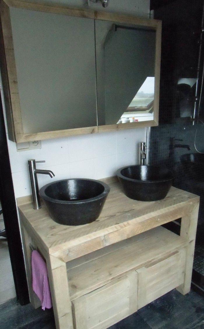 Tadelakt bathroom made by amel kadic - Badkamermeubel In Gebruikt Steigerhout Dit Is Volledig Verlijmd En Gehaakt Alsook Beschermd Tegen Vocht