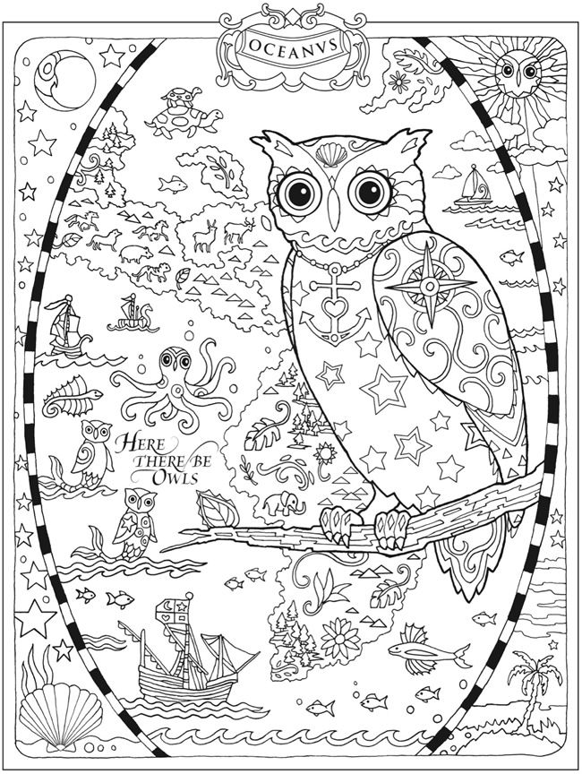 Owl Abstract Doodle Zentangle Coloring pages colouring adult detailed advanced printable Kleuren voor volwassenen coloriage pour adulte anti-stress kleurplaat voor volwassenen http://www.doverpublications.com/zb/samples/796647/sample6b.html