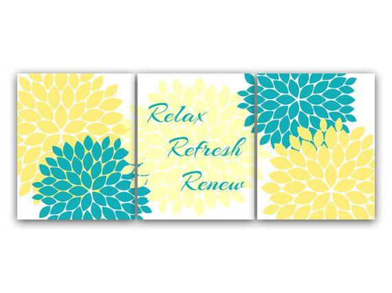 Bathroom Wall Art, Relax Refresh Renew, Yellow and Turquoise  Bathroom Decor, Modern Bathroom Art, Set of 3 Bath Art Prints - BATH27