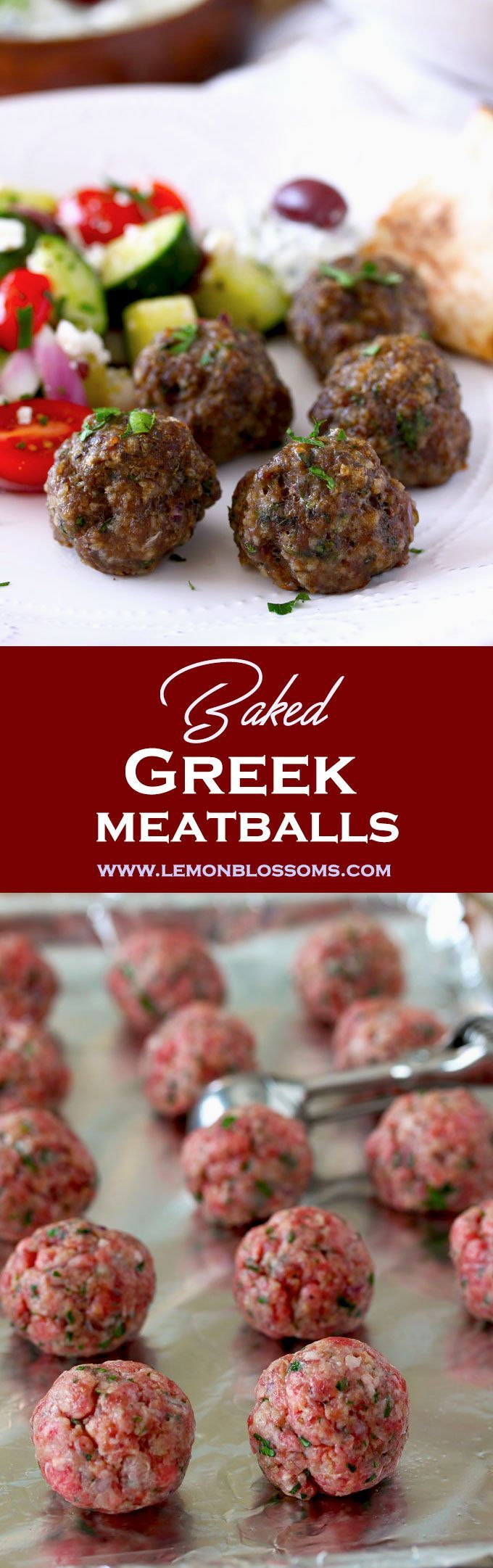 These Baked Greek Meatballs are seasoned with grated onion, garlic, oregano, fresh parsley and mint. Perfectly juicy and golden brown, they are great served as an appetizer or as part of dinner! #meatballs #Greekfood #bakedmeatballs #baked #easyrecipe