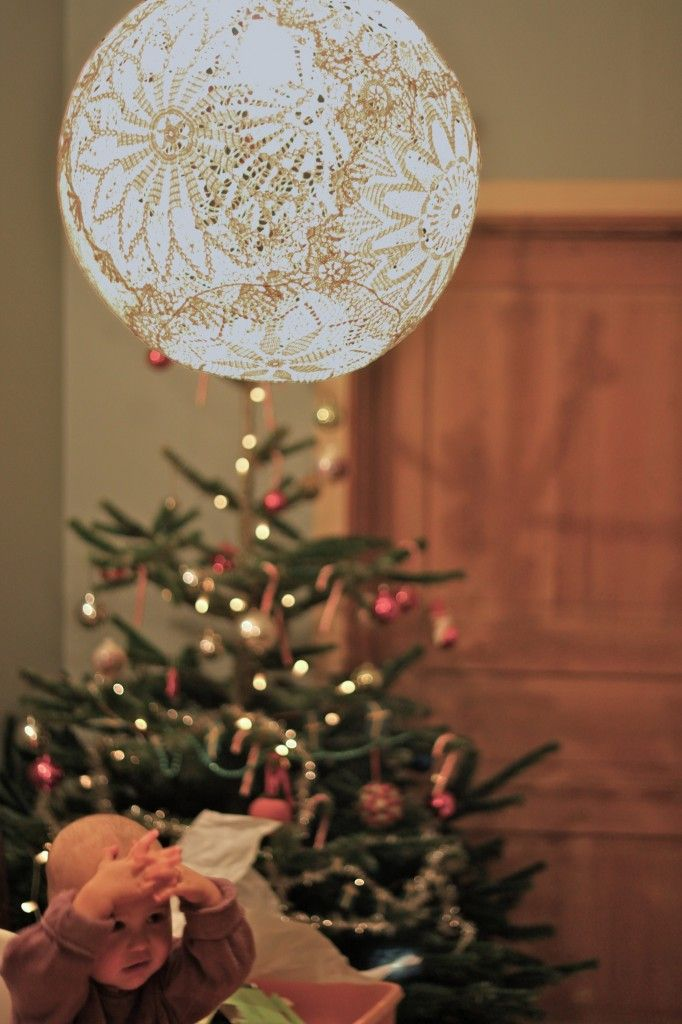 doilies, wallpaper glue and a cord and light socket, voila a new light fixture.