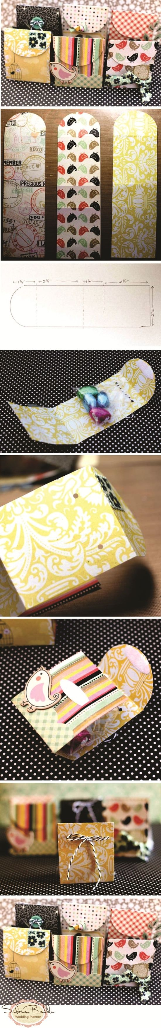 Mini-Envelopes: alter ribbon so that it ties around sides? otherwise stuff will fall out!