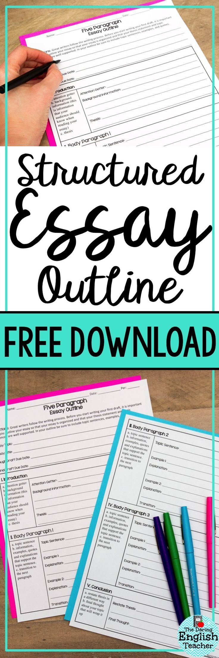 Help your students write their five-paragraph essays with this free structured essay download.