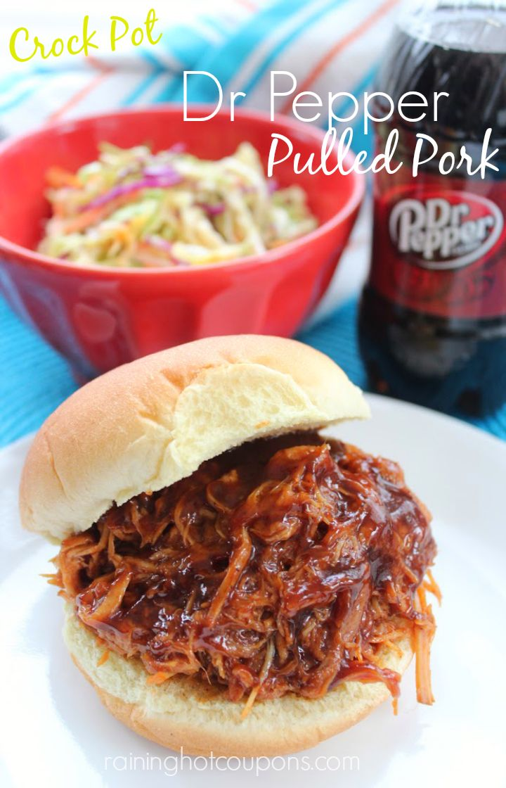 Crock Pot Dr. Pepper Pulled Pork ---- INGREDIENTS: 3-4 lb Pork Loin Roast, Pork Rub (see how OP makes hers at the link provided) or your favorite seasonings, 12 oz Dr Pepper, Barbecue Sauce (to taste).  DIRECTIONS: Season pork with your rub on all sides. Place in slow cooker. Pour in Dr Pepper. Cook on low 10-12 hours. Drain most of the liquid. Use tongs to shred pork. Add barbecue sauce to taste (I use a whole bottle). Stir well and reduce temp to warm for serving.