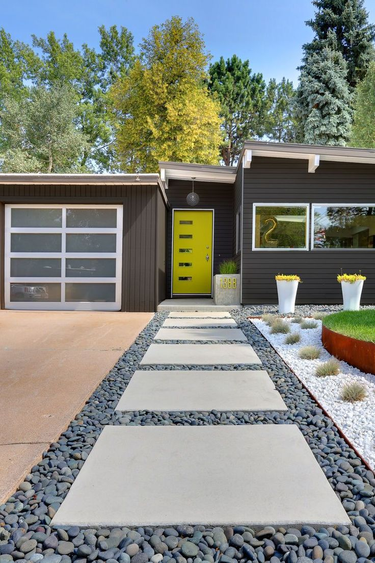 Denver landscape hardscape Three Sixty Design. Love the big pavers and Mexican pebbles. And door. And numbers. Everything! -Liz