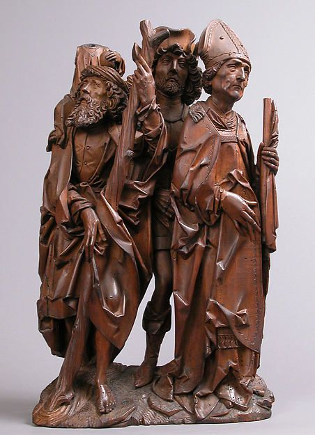Saints Christopher, Eustace, and Erasmus (Three Helper Saints), represent three of the fourteen Helper Saints, who have been venerated as a group since the early 1300s, became particularly popular in Germany after 1446, when they appeared in a vision to a shepherd. Represented is Saint Christopher carrying the Christ child; Saint Eustace, a general in Trajan's army who converted to Christianity; and Saint Erasmus, a Syrian bishop in episcopal regalia.