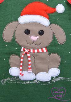 kostenlose Applikationsvorlage Weihnachtshund von Sewing Maid free applique pattern christmas dog