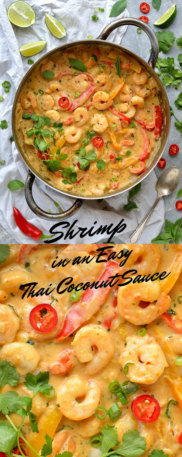 Prawns in an easy Thai coconut sauce - shrimp and peppers in a creamy, flavourful Thai-style coconut sauce.