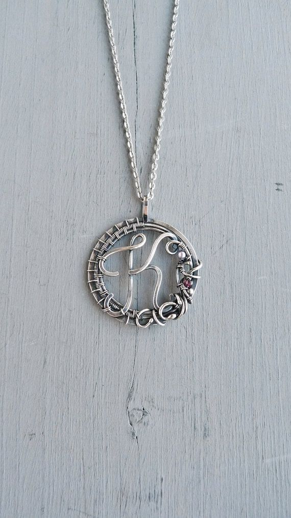 Personalized silver necklace K - 999 fine silver jewelry - wire wrapped pendant - gift for women - gift for mom by UrsulaJewelry