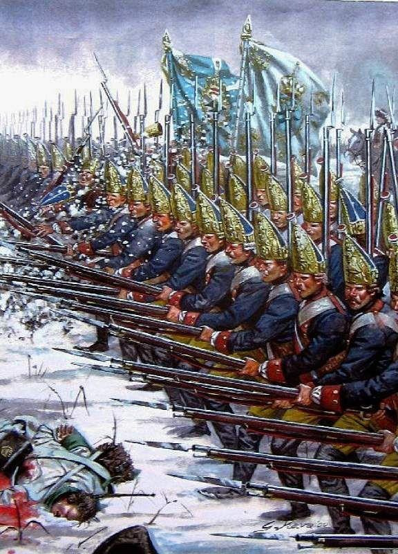 Granaderos prusianos cargando a la bayoneta en Leuthen - Giuseppe Rava Más en www.elgrancapitan.org/foro