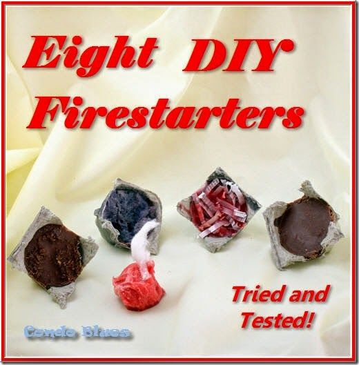 8 different ways to make homemade fire starters using candle wax, lip balm, rubbing alcohol, petroleum jelly, dryer lint, pine cones, saw dust, wine corks, coffee grounds, shredded paper and coffee grounds.