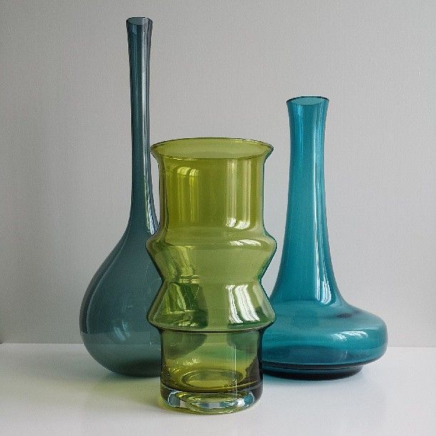 Petrol Vase by Arthur Percy for Gullaskruf Sweden; green vase by Tamara Aladin for Riihimäki Finland; turquoise Danish vase