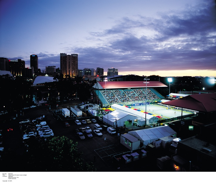 Aerial view of Memorial Drive's centre court at night.    Image Source: SA Tourism Commission.