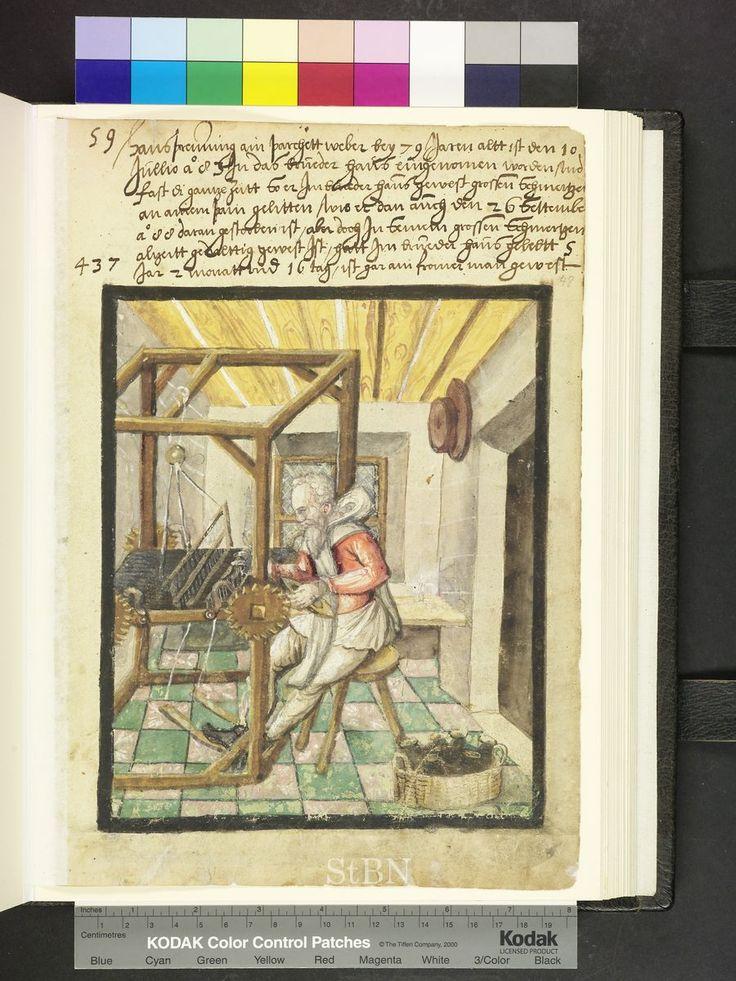 Der Bruder sitzt an seinem Webstuhl und hantiert mit der Lade, während er in der Linken das Weberschiffchen hält. Am Boden liegen in einem Korb zahlreiche Garnspulen, 1588