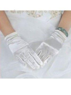 Атласные белые перчатки до запястья K011909