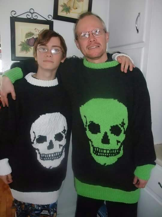 My personal fave a basic sweater made to size with matching skulls graph...hubby and son loved them!