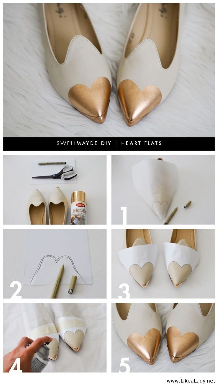 DIY - Heart flats more copper spray paint!!!                              …                                                                                                                                                                                 More
