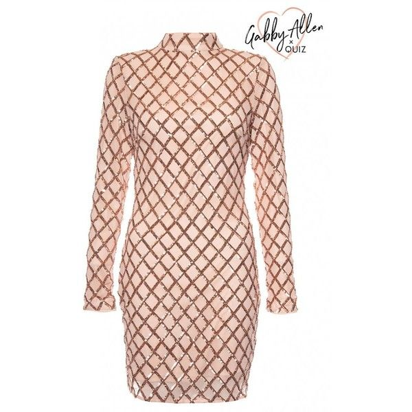 Gabby's Nude And Rose Gold Sequin Bodycon Dress ($60) ❤ liked on Polyvore featuring dresses, sequin body con dress, pink bodycon dress, pink dress, sequin bodycon dress and sequin cocktail dresses
