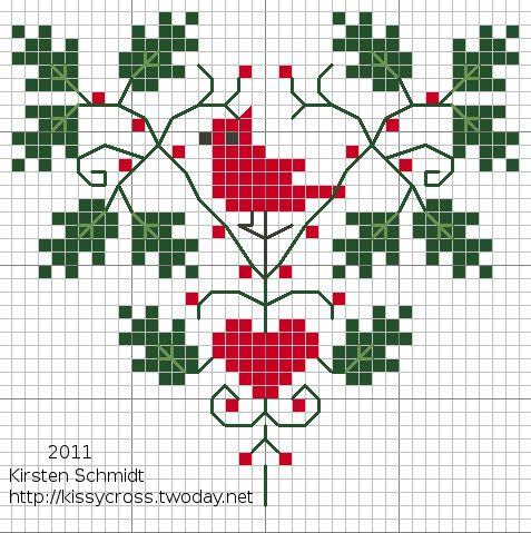 cardinal heart cross stitch freebie