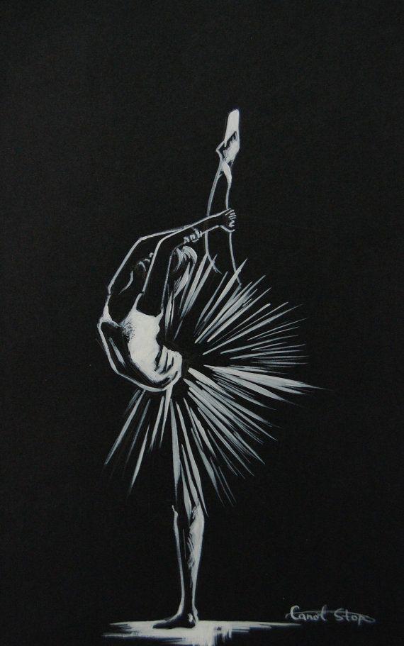 Балерина в исходном рисунок чернилами белый на черном по CanotStop на Etsy
