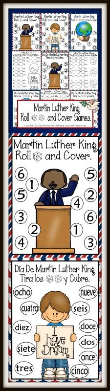 {FREE} Celebrate Martin Luther King Day with this cute independent center.   Students roll 1,2 or 3 dice, add the numbers, and cover up the sum. First to cover all their numbers, wins!
