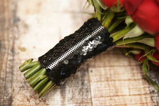 Rock n roll wedding bouquets | Rock N' Roll Wedding / zipper + sequin black bouquet stem wrap ...