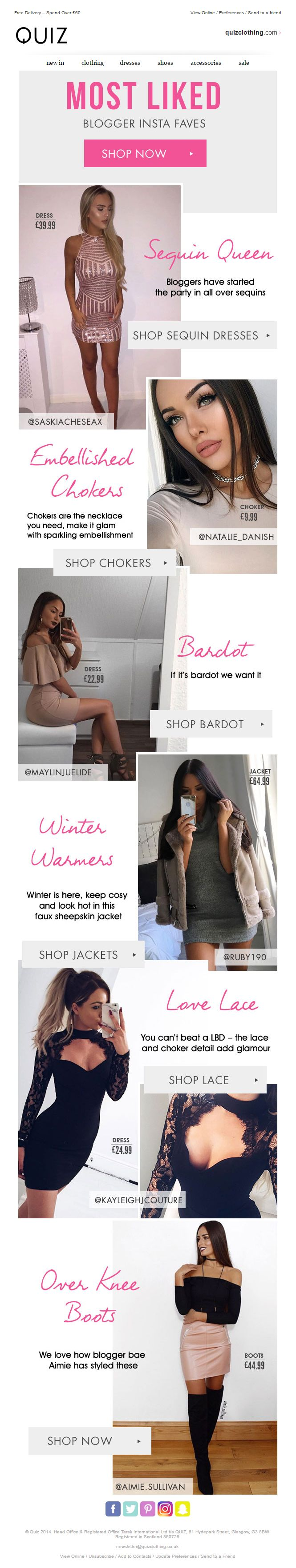 Social Media Email from Quiz Clothing #EmailMarketing #Email #Marketing #Social #Media #SocialMedia #Fashion #Clothing #Instagram