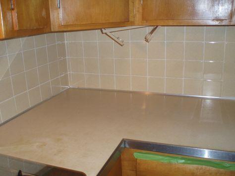 Painting tile backsplash