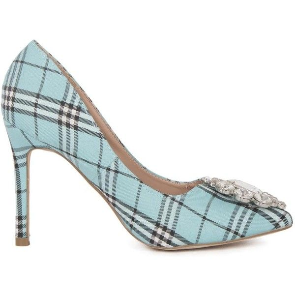 Lauren Lorraine Women's Giselle2 - Teal - size 5.5 ($60) ❤ liked on Polyvore featuring shoes, pumps, blue, blue pumps, high heel shoes, blue rhinestone pumps, plaid pumps and rhinestone shoes
