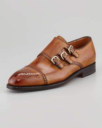 Excelsior Perforated Triple-Buckle Monk-Strap Loafer by Bontoni