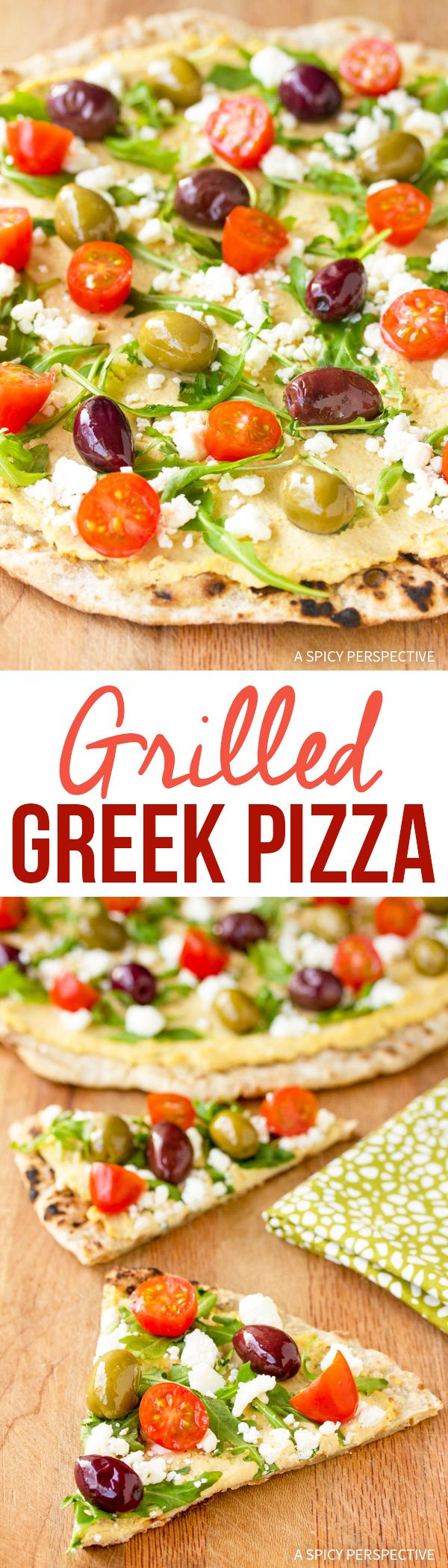 Fresh Zesty Grilled Greek Pizza Recipe via @spicyperspectiv
