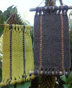 Murales realizados en telar mapuche con lanas teñidas al natural
