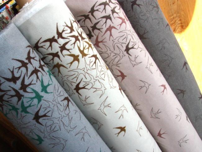 Kokka Flannel - Swallows Pink - Kokka Japanese Prints - Fabric