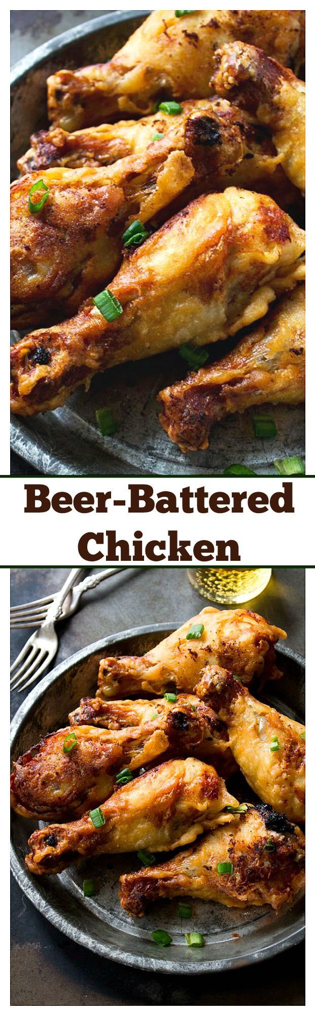 Beer-Battered Yogurt Chicken - Crispy and super flavorful chicken soaked in a yogurt-mixture and coated with a crisp beer-batter.