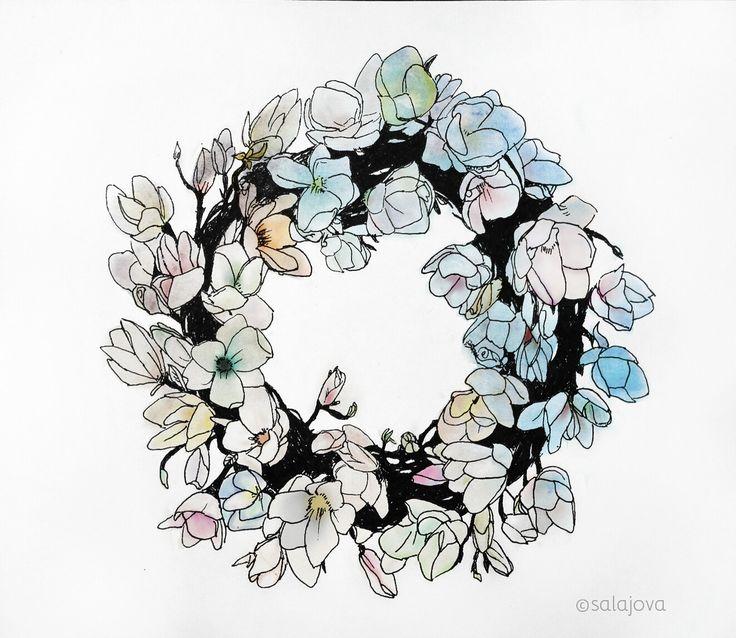 #floral #flora #drawing #sketchbook #doodle #illustration #pendrawing #pigmamicron #sketch #moleskine #moleskineart #practice #flowers #spring #pinterest #inspiration #photoshop #student #floralart #ink #art #artist #colorful #dreamy #flowerwreath #sakura #salajova #my #art #floral #colorful #happy #inspiration #drawing #painting #digital #minimalistic #detail