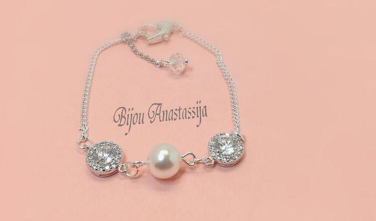 Brautschmuck - Armband Zirkonia Silberkette Perlen - ein Designerstück von BijouAnastassija bei DaWanda