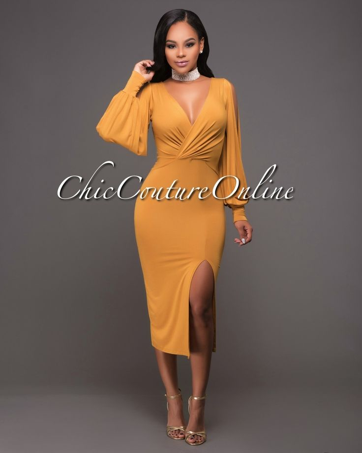 Chic Couture Online - Devon Mustard Yellow Slit Sleeves Midi Dress.(http://www.chiccoutureonline.com/devon-mustard-yellow-slit-sleeves-midi-dress/)