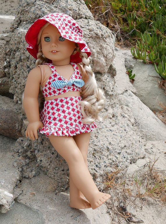 Red Floral Vintage Swimsuit and Sunhat fits 18 Inch American Girl Dolls