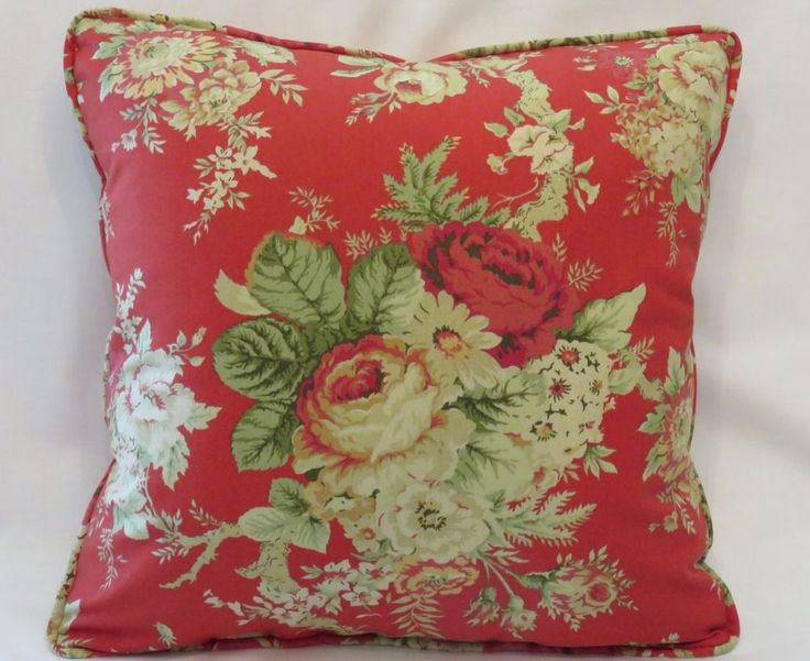 Red Cottage Floral Throw Pillow New Waverly Santctuary