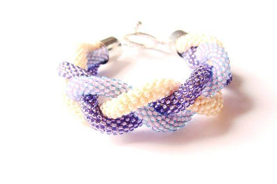 Beaded Crochet Rope Bracelet Purple and Beige by IneseLoft on Etsy, £15.00